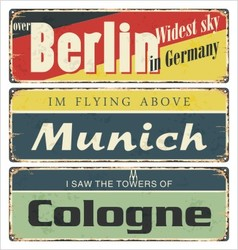 Retro tin signs city souvenir rust vector image