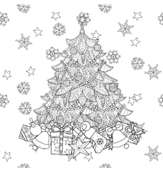 Christmas fir tree with gifts vector