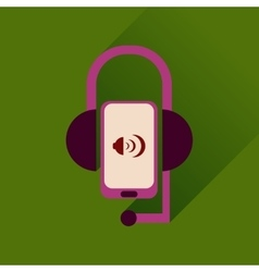 Flat web icon with long shadow mobile earphone vector
