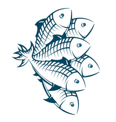 a flock of fish vector image