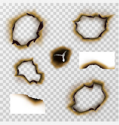 Burnt hole in paper or pergament scorched papers vector