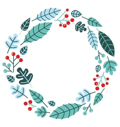 Christmas retro holiday wreath isolated on white vector image vector image