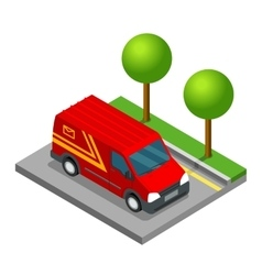 Delivery isometric 3d van car truck cargo vector