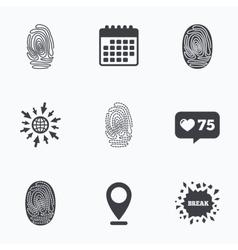 Fingerprint icons Identification signs vector image