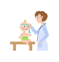 Flat female doctor and infant baby vector