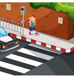 Girl talking on the phone on the road vector