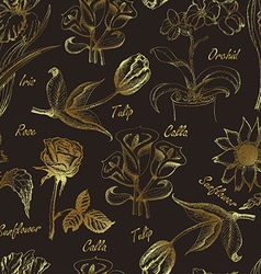 Hand drawing seamless pattern of flowers vector image vector image