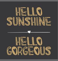 hello sunshine hello gorgeous quote vector image