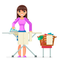 Housework electric iron clean laundry clothes vector