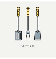 Line color kitchenware icons fork furcula vector image vector image