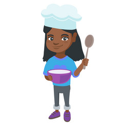 little african girl holding a saucepan and a spoon vector image vector image
