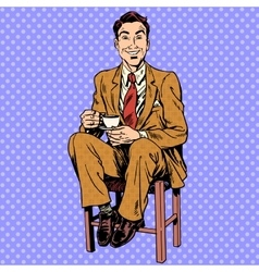 Man drinking tea sitting on the stool vector