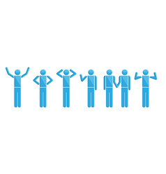 people in actions blue symbols vector image