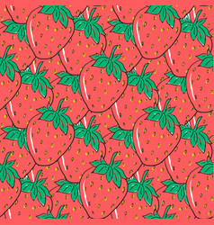 Seamless pattern with red hand drawn strawberries vector