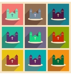 Set of flat web icons with long shadow church vector