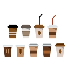Set of paper glasses for coffee vector