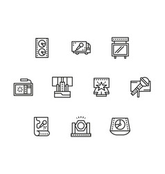 stage elements black line icons set vector image