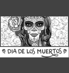 Sugar skull lady vector