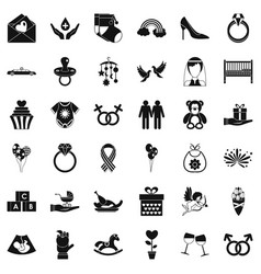 Sympathy icons set simple style vector