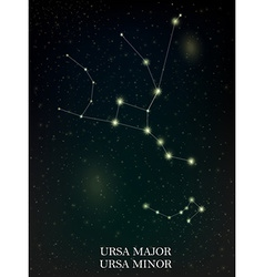 Ursa manor and ursa minor constellation vector