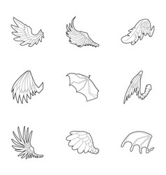 wings icons set outline style vector image
