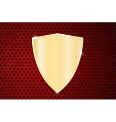 Golden shield on red perforated background vector image