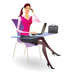 Business woman with laptop and smartphone vector image