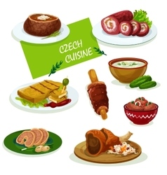 Czech cuisine dinner dishes cartoon menu design vector
