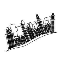 outline buildings and cityscape side scene icon vector image