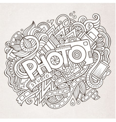 Cartoon cute doodles hand drawn photo inscription vector