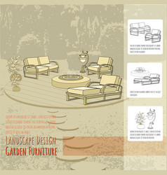 Lounge chairs lantern fountain and flowers in vector
