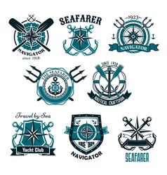 Nautical heraldic icons of marine seafarer vector