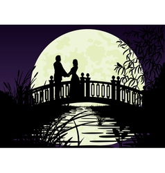 Couple on bridge vector