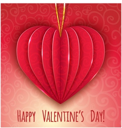 Decorative paper red heart for valentines day vector