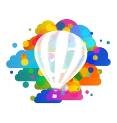 Hot air balloon silhouette colorful clouds vector