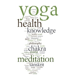 Yoga word collage on white background vector