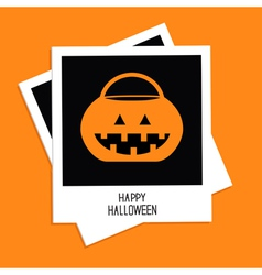 Instant photo with rrick or treat pumpkin bucket vector
