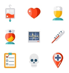 Isolated icons set medical vector