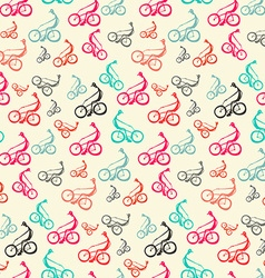 Biker - bicyclist retro seamless background - vector