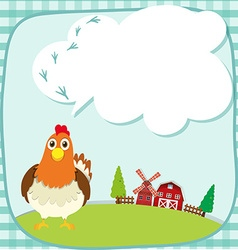 Border design with chicken on the farm vector