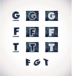 Letter g f t logo icon set vector
