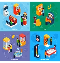 Game Machines 4 Isometric Icons Square vector image