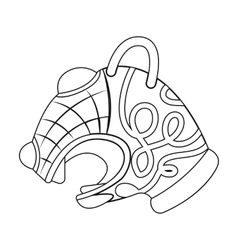 Animal head of viking s ship icon in outline style vector