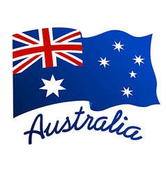 Australian flag in wind with word Australia vector image vector image