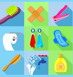 Bath equipment icons set flat style vector