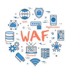 blue round waf concept vector image