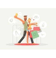 Boy and girl with shopping bags vector image