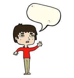 Cartoon unhappy boy waving with speech bubble vector