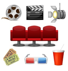 Cinema entertainment decorative icons vector image vector image