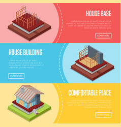 Comfortable house building posters set vector